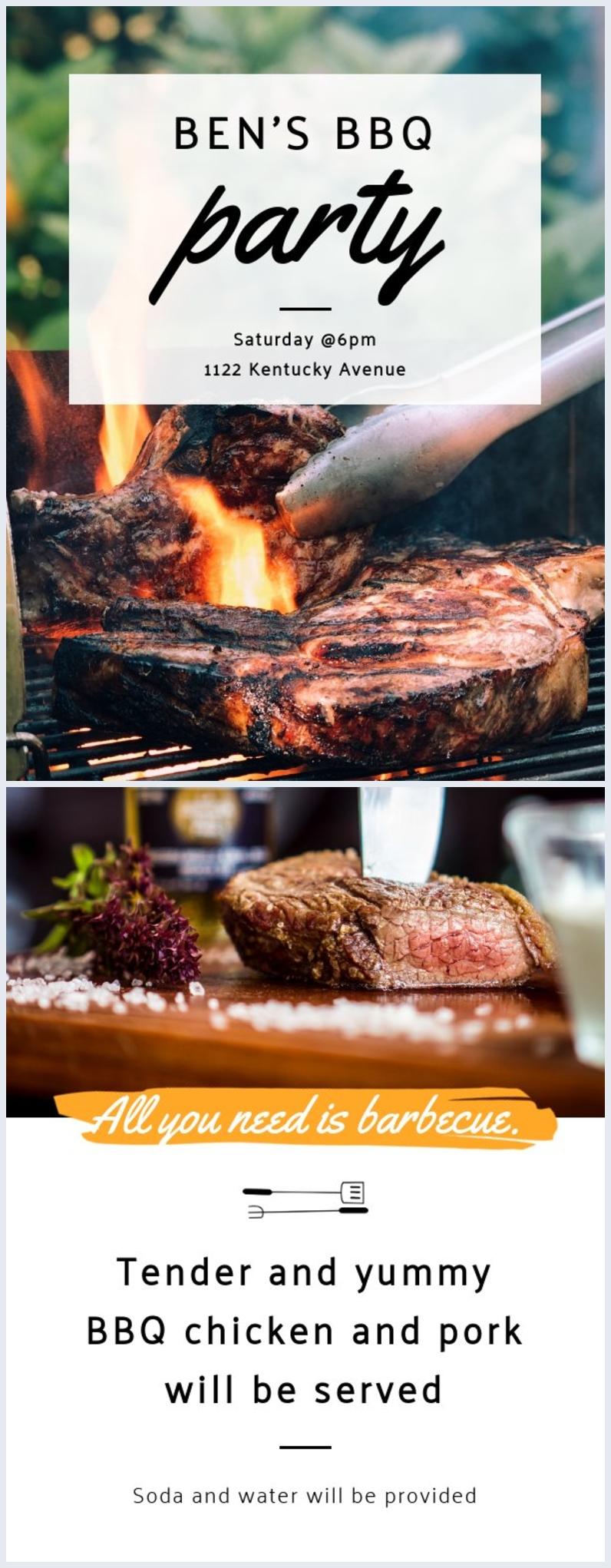 Exemple de modèle de flyer de fête barbecue personnalisable
