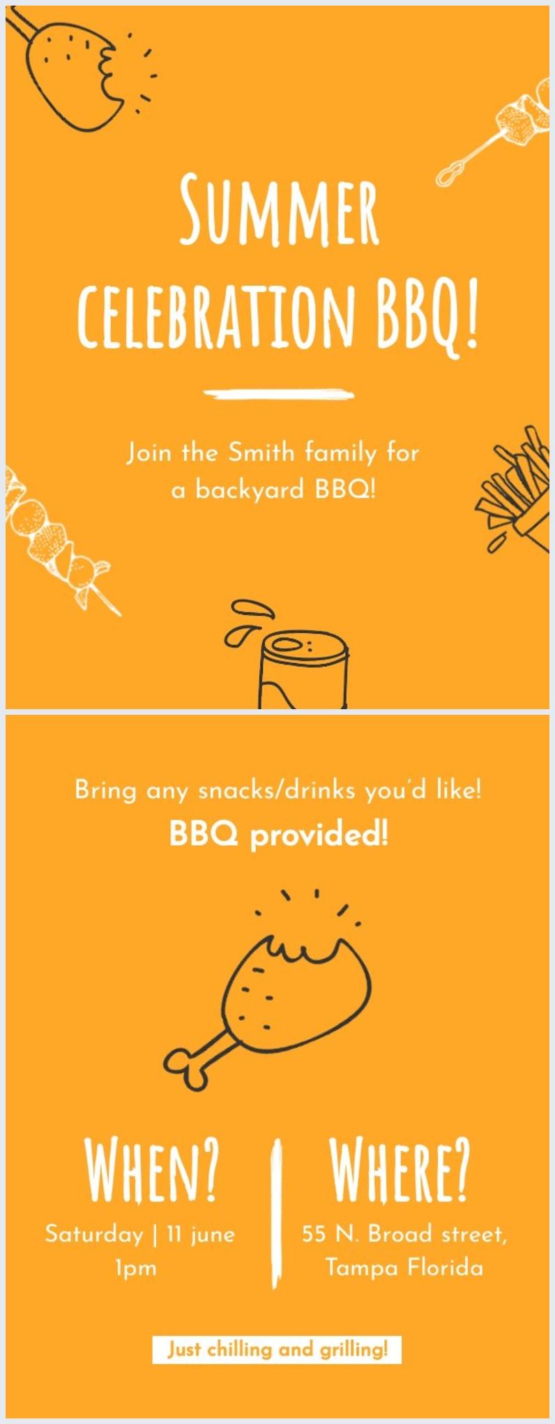 Exemple de flyer de barbecue d'été modifiable gratuit
