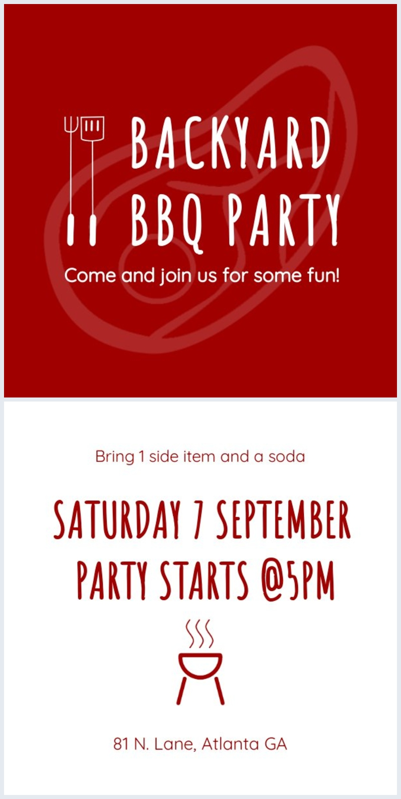 Free backyard barbecue flyer layout