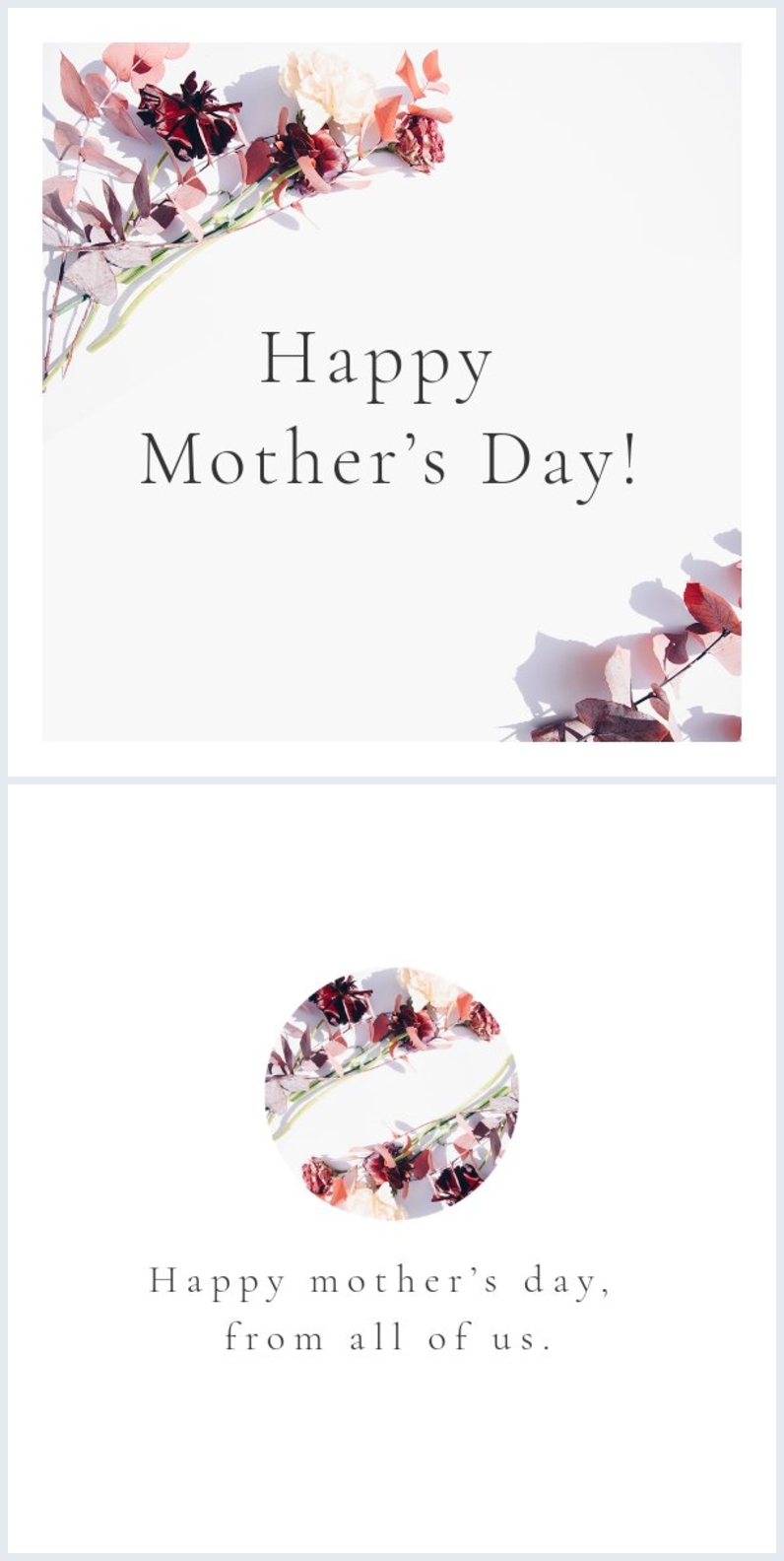 Floral happy mother's day card layout