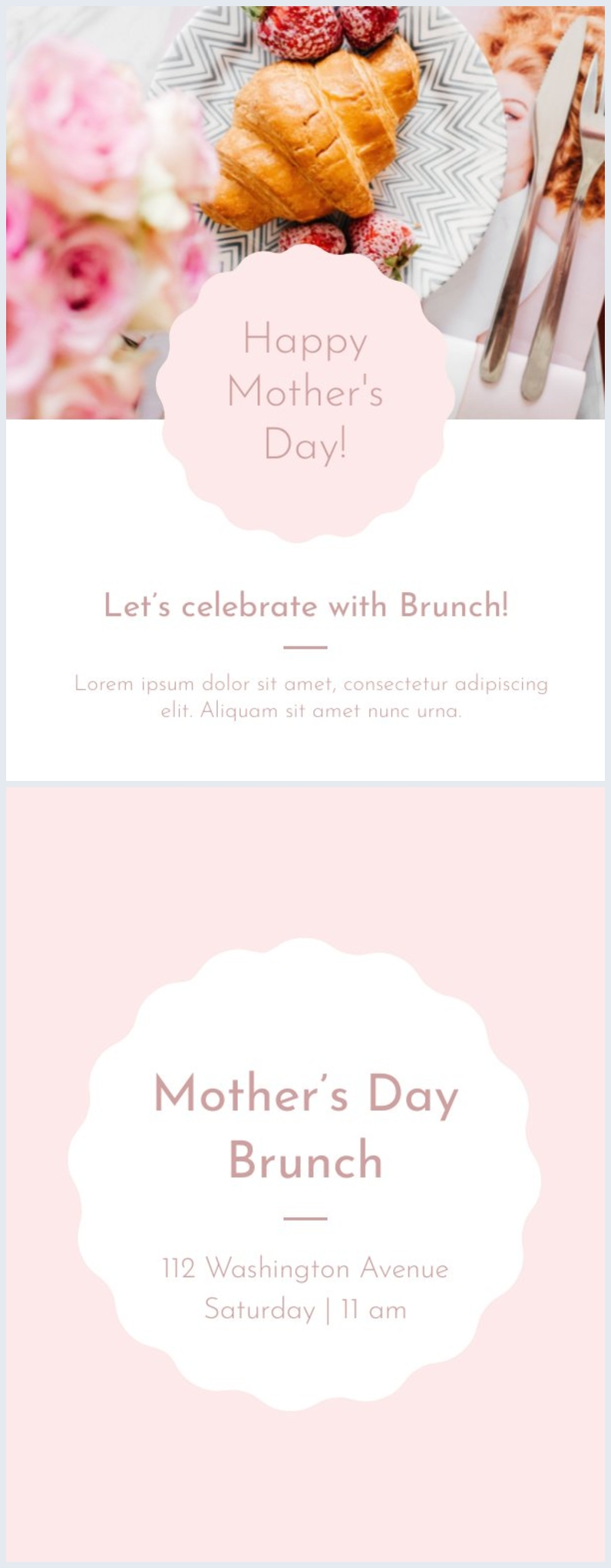 Diseño de plantilla para invitación al almuerzo del Día de la madre