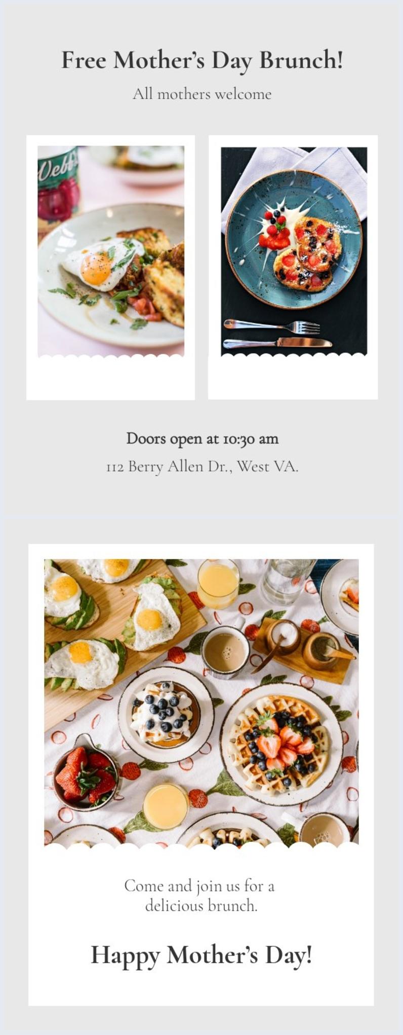Design de convite para café da manhã de dia das mães grátis