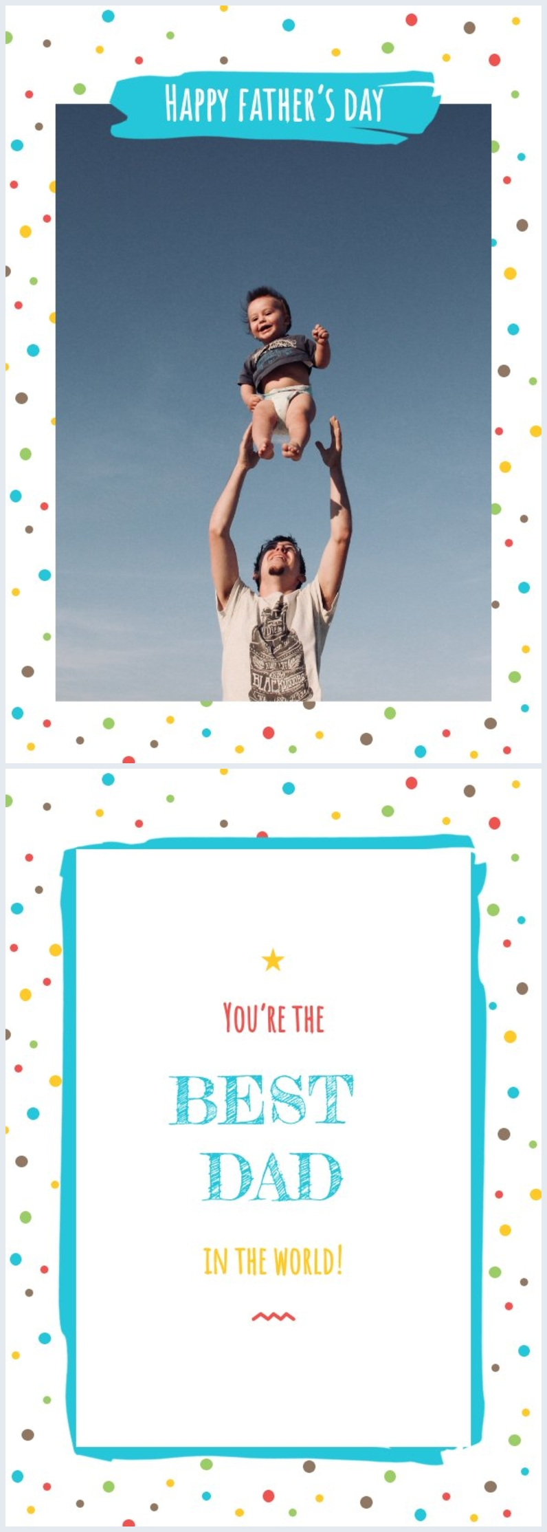 Editable colorful father's day card design