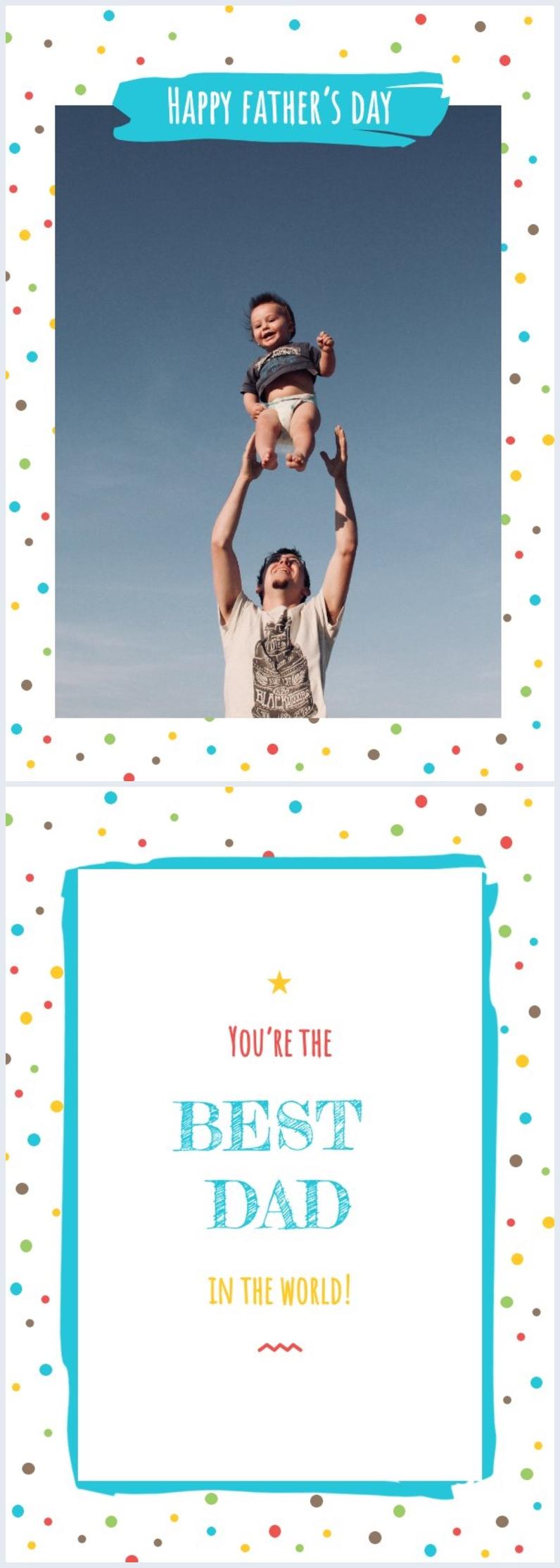 Diseño colorido y editable para tarjeta del Día del padre