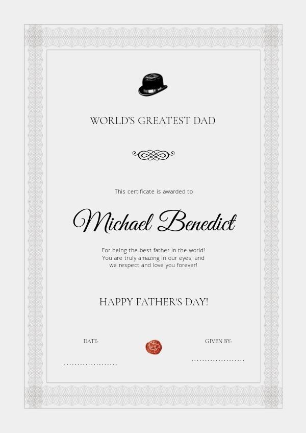 Printable father's day certificate design idea