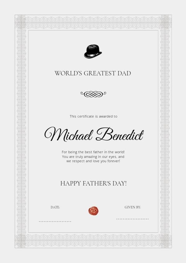 Afdrukbaar Vaderdag certificaat ontwerp idee