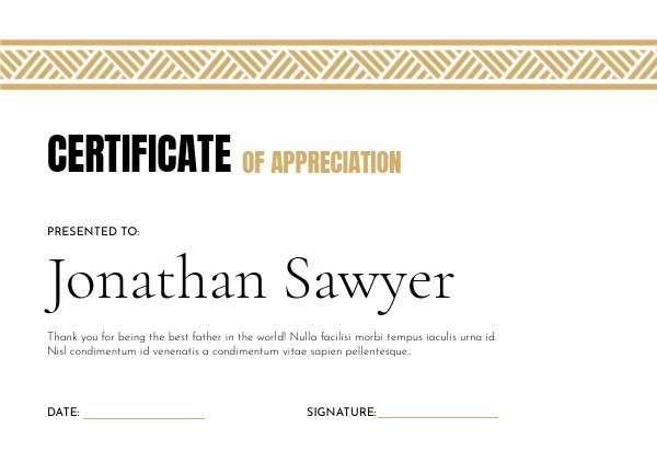 Father's Day certificate of appreciation layout