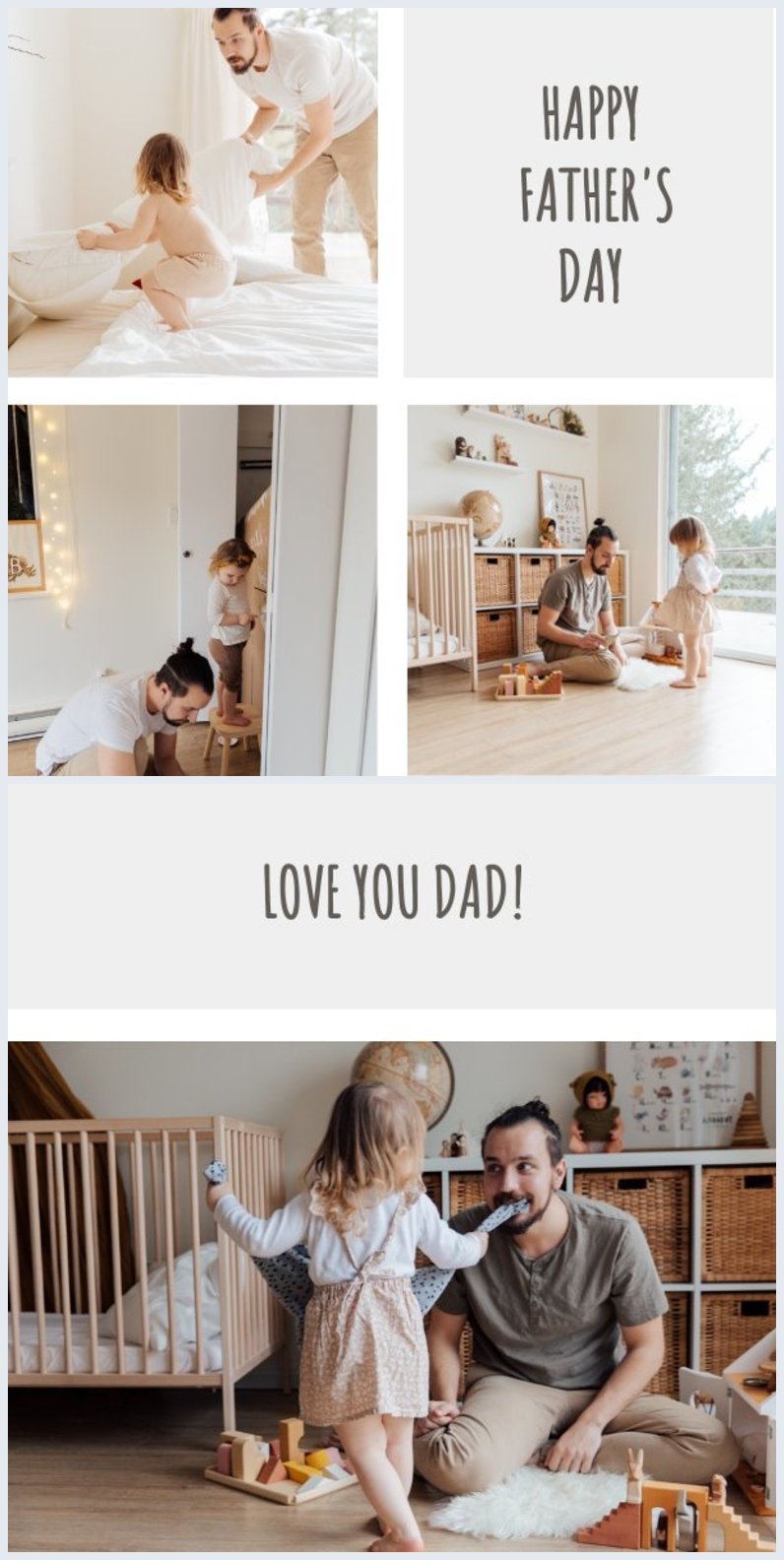 Editable photo father's day card layout