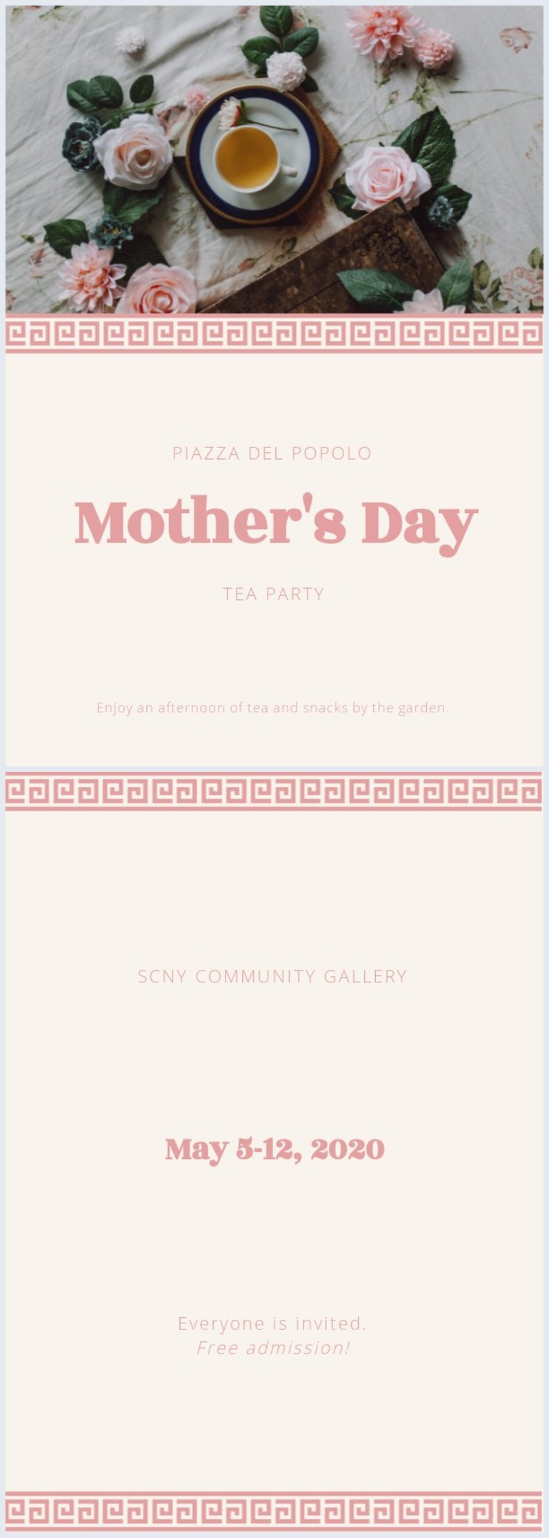 Elegant Mother's Day tea party invitation layout