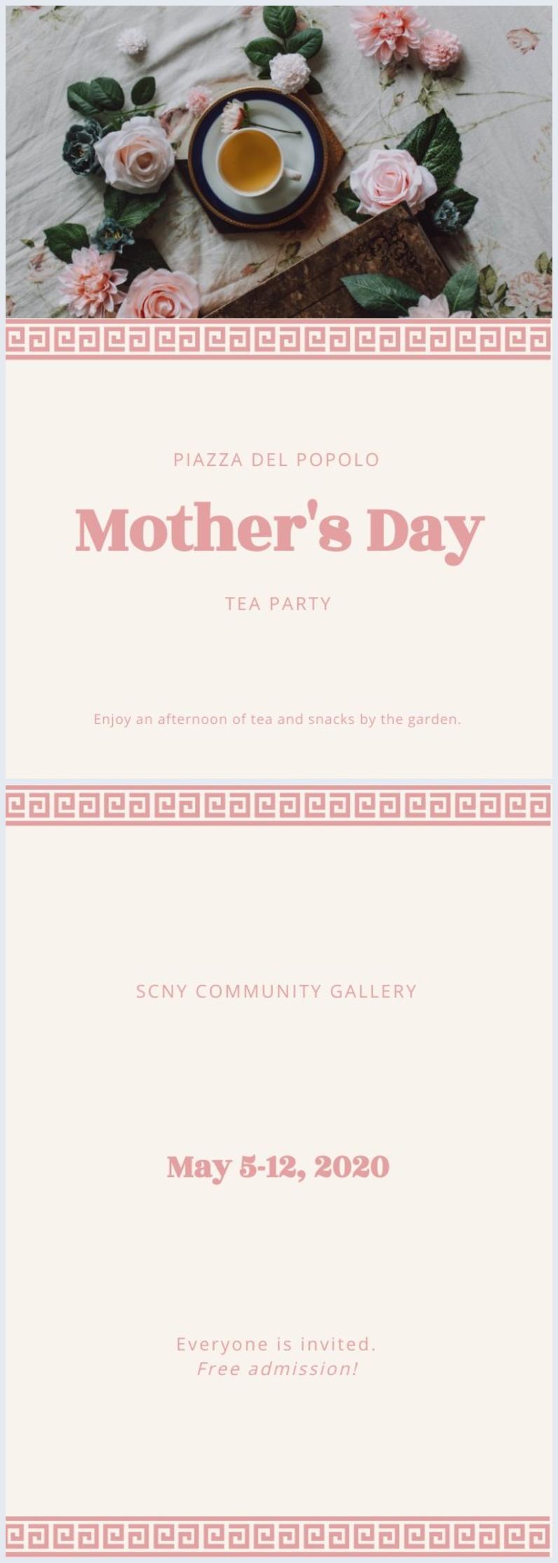 Mise en page d'invitation élégante au thé pour la fête des mères