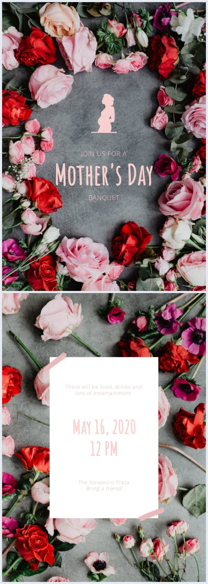 Free floral mother's day invitation template design