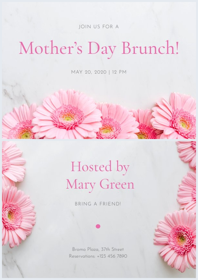 Printable Mother's day invitation layout