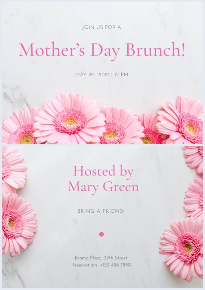 Druckbares Layout für die Einladung zum Muttertag