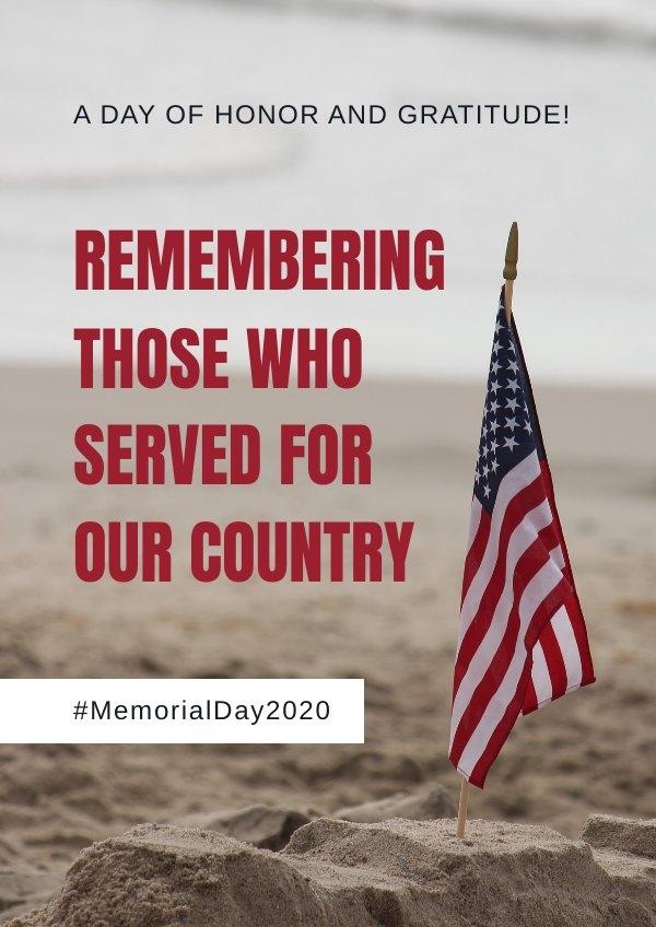 Exemplo de design de folheto do memorial day patriótico