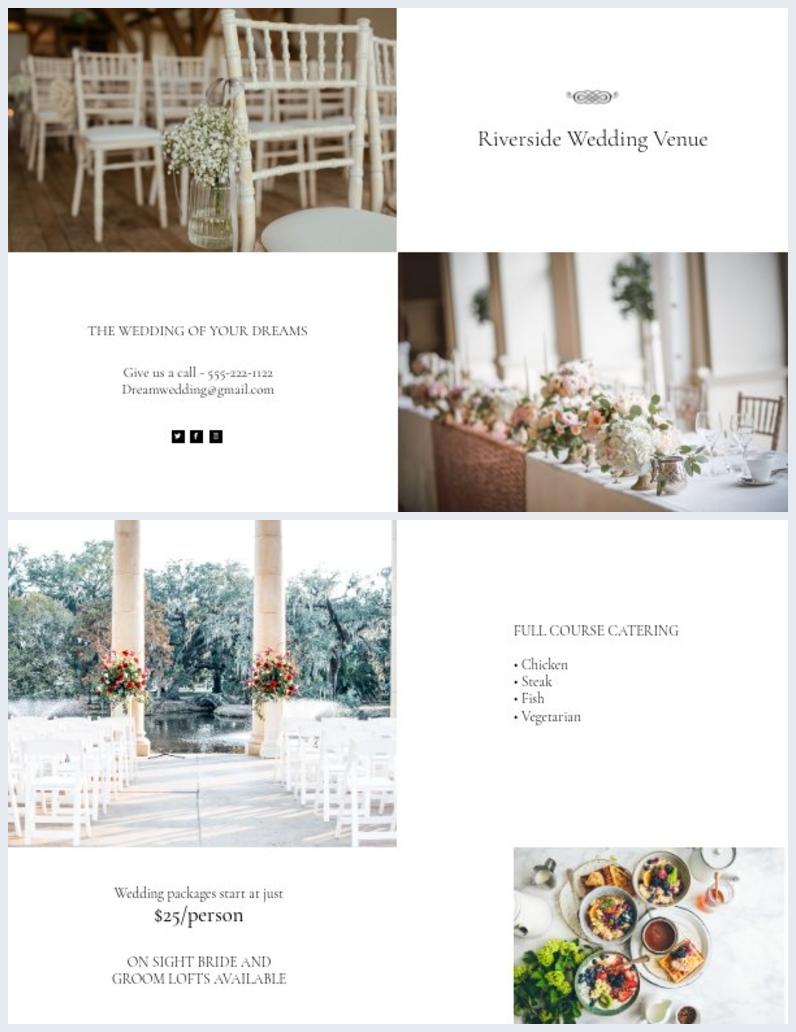 Design de Modelo de Brochura de Casamento Elegante