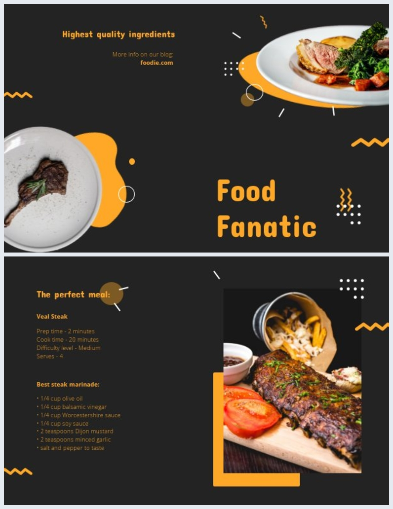 Tasty Food Bi Fold Brochure Template Layout