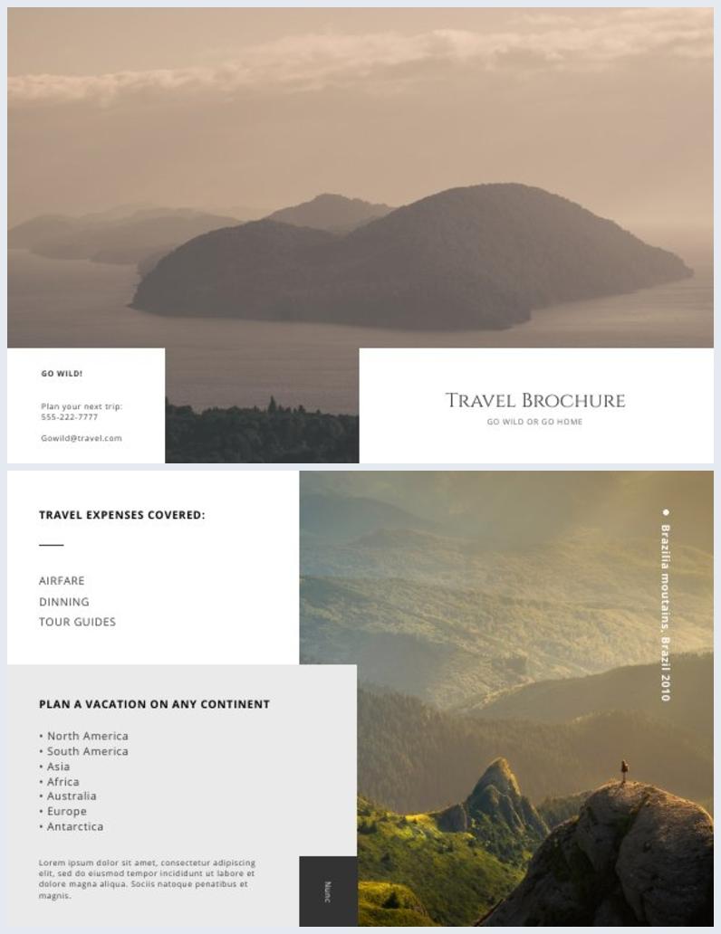 Design de mise en page de brochure de voyage à deux volets