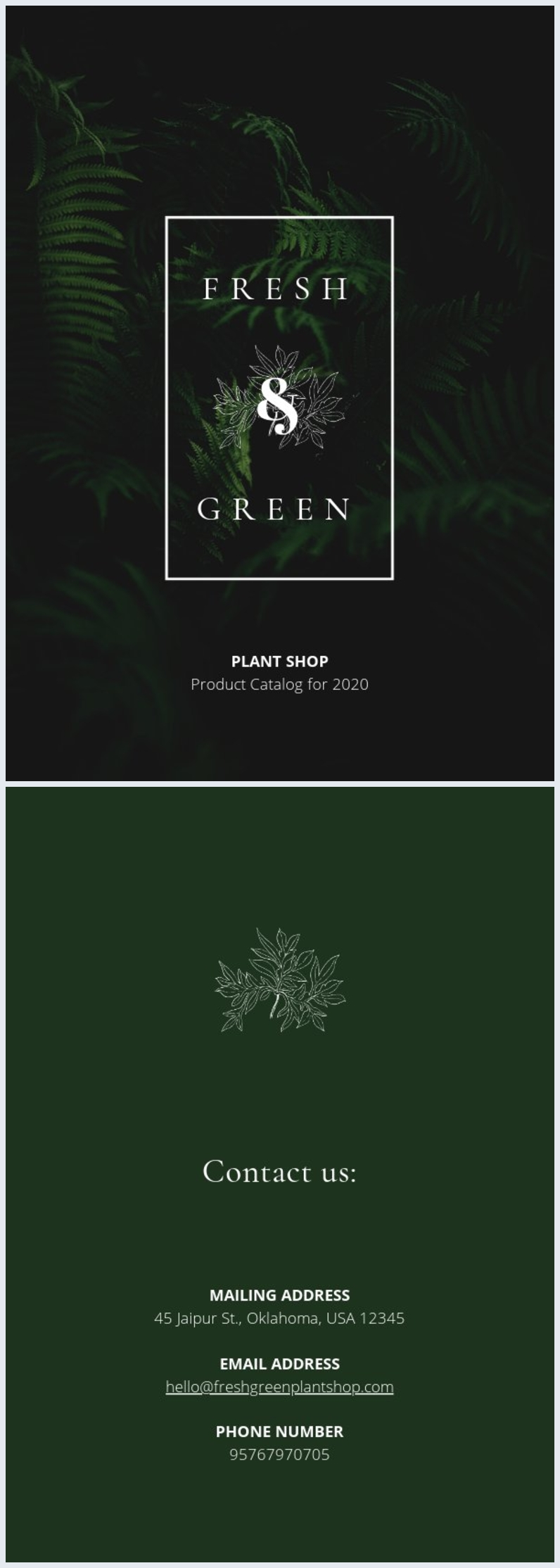 Green Plant Catalog Cover Layout Design