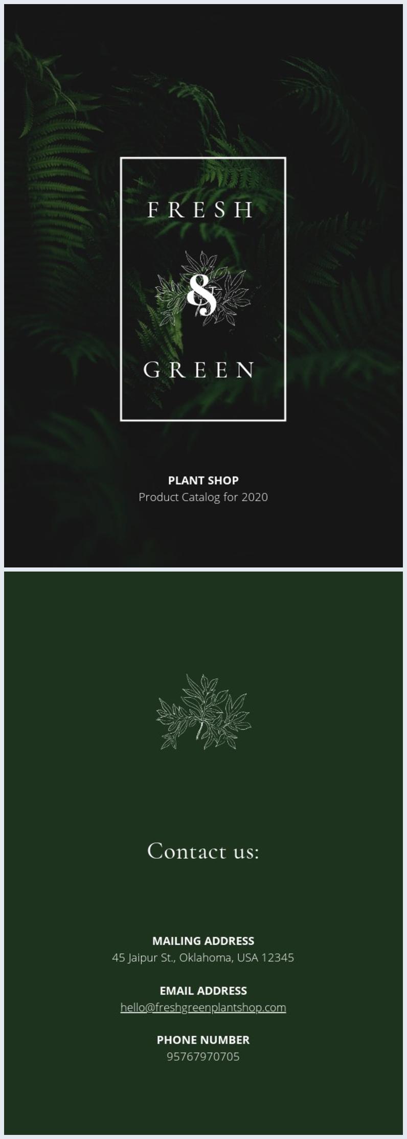 Diseño en verde para portada de catálogo de plantas