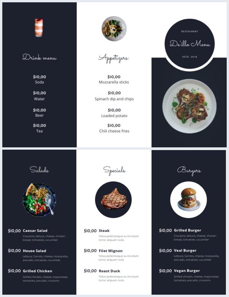 Druckbares Design einer dreifach gefalteten Take-out-Speisekartenvorlage