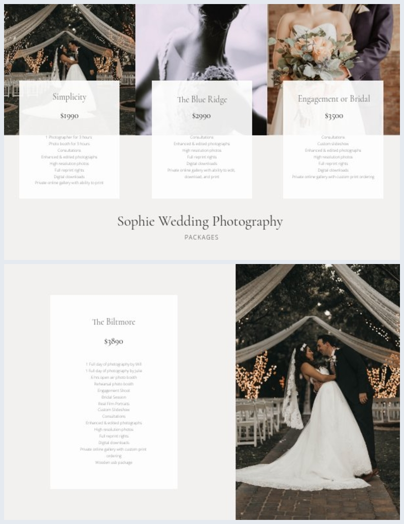 Photographer Price Sheet Design Layout