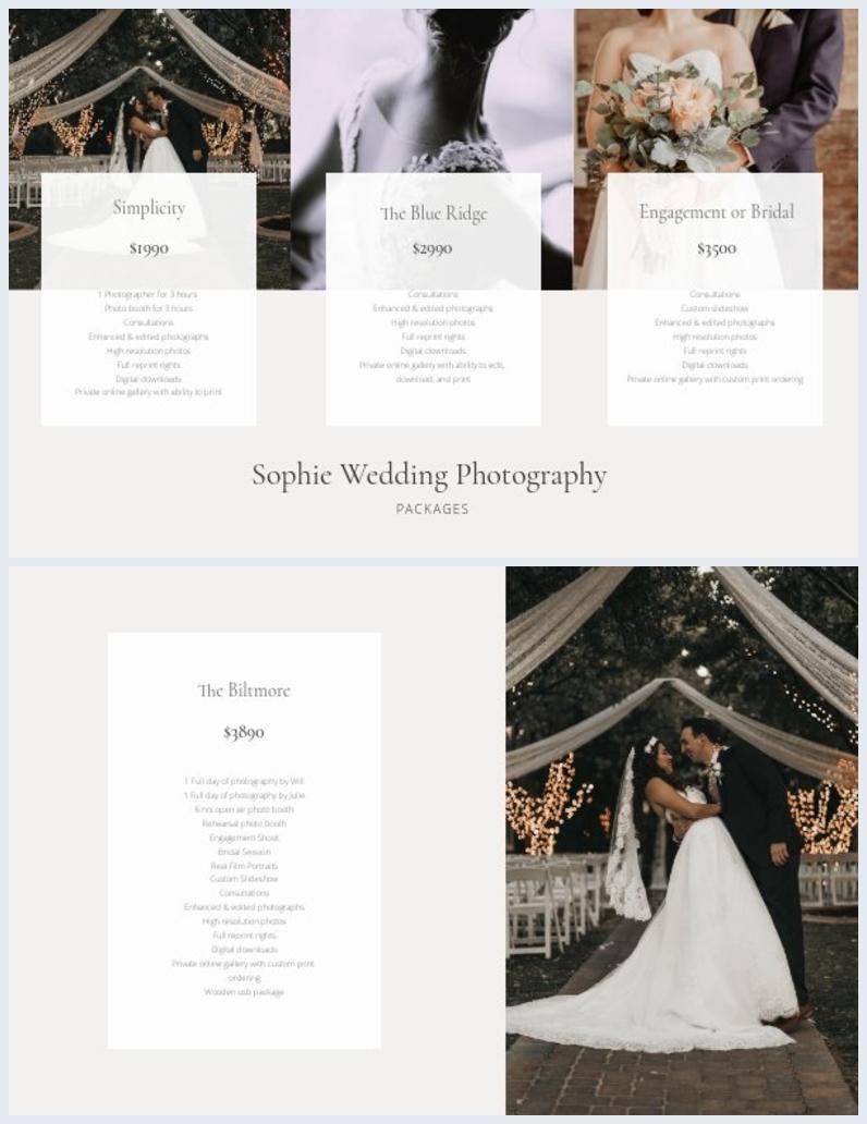 Layout de Design de Folha de Preços de Fotógrafo