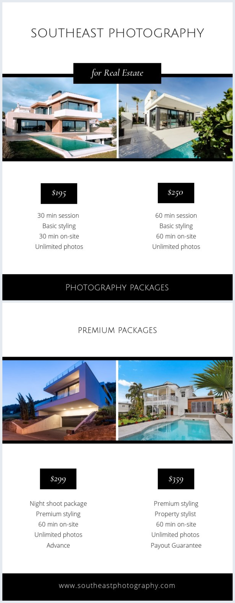 Real Estate Photography Price Guide Layout