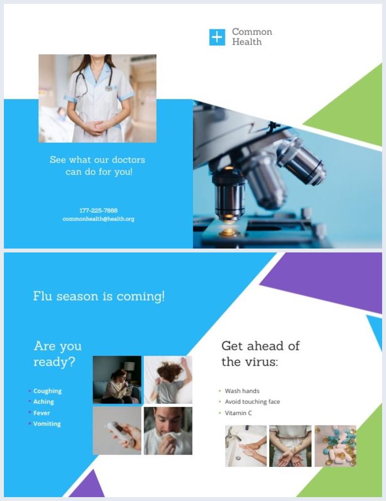 Layout de Modelo de Brochura Médica com Duas Dobras
