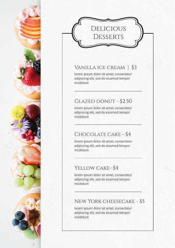 Voorbeeld Ontwerp Dessert Kaart