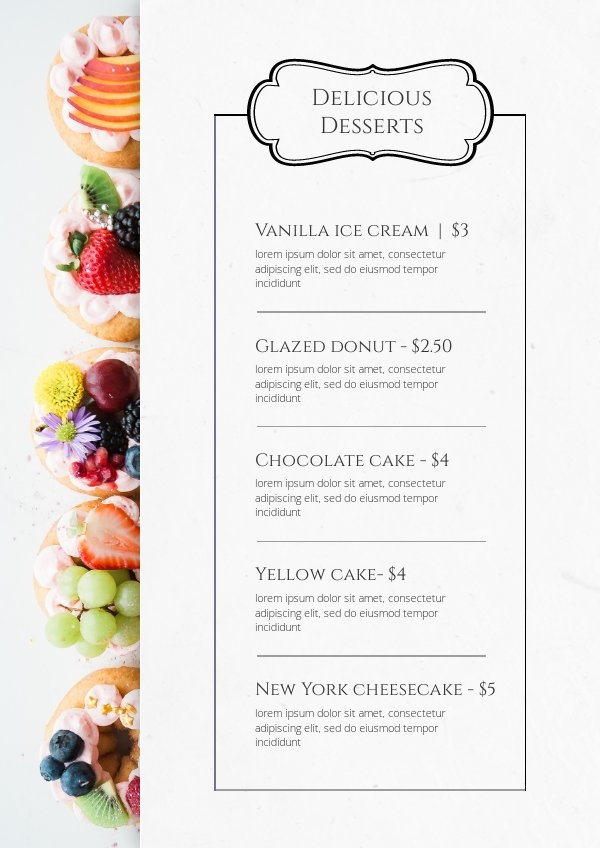 Exemple de design de carte de menu de desserts