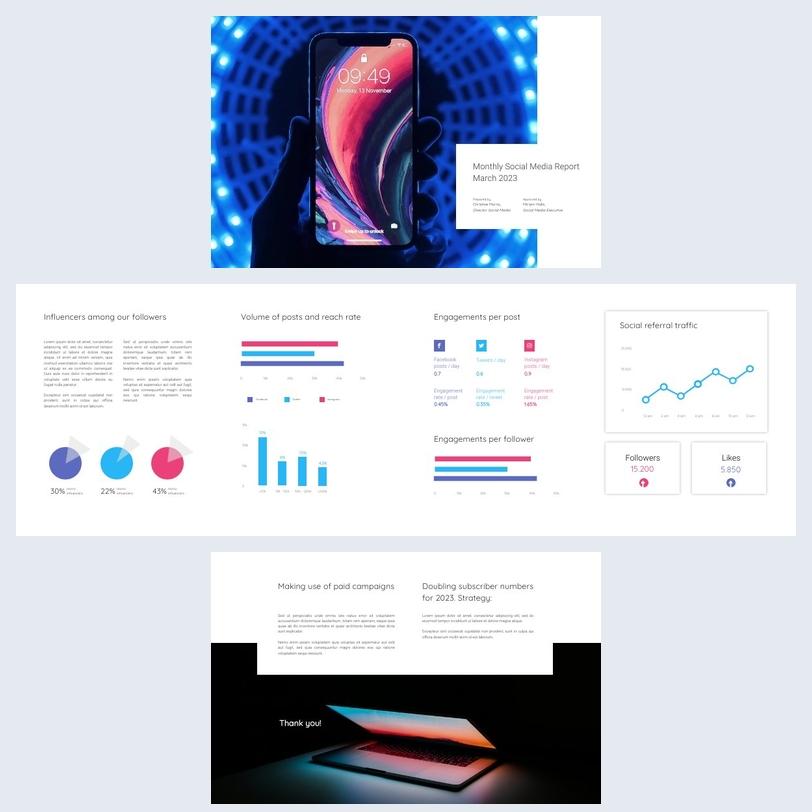 Diseño para informe mensual de Redes sociales