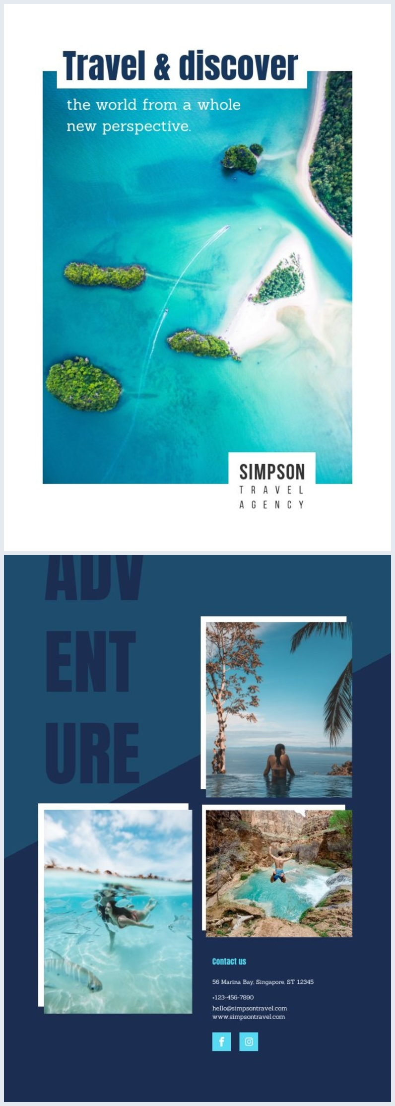 Travel Brochure Cover Template Design
