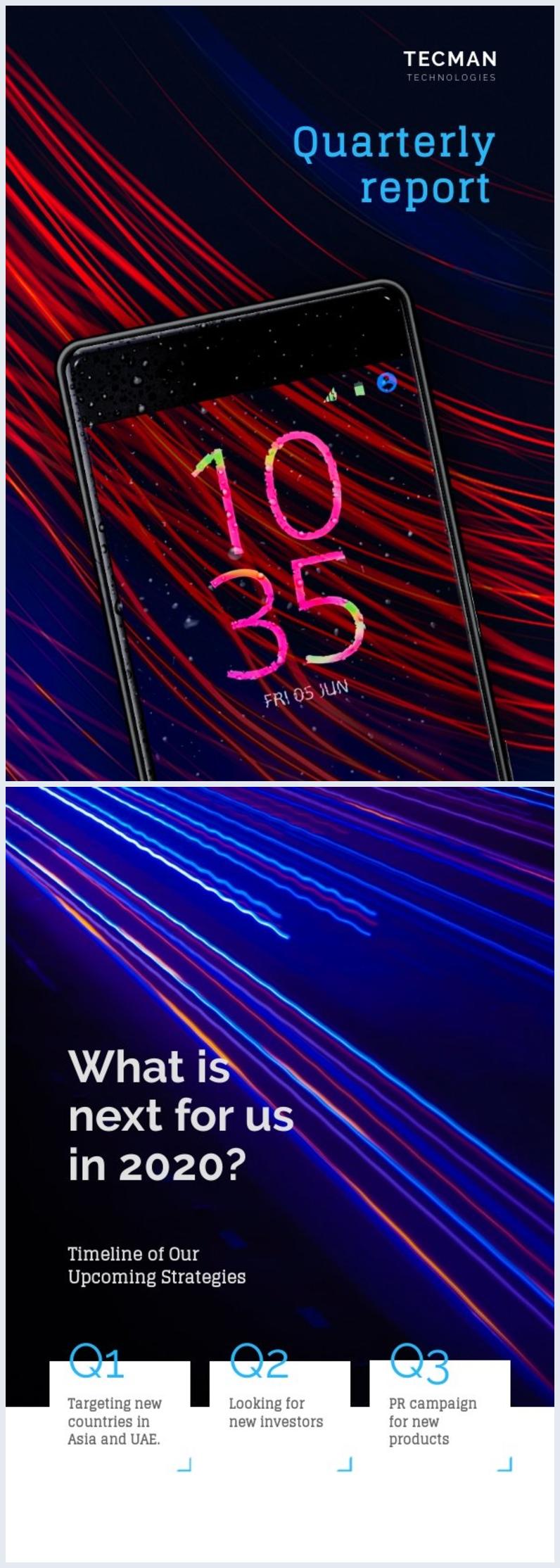 Modello grafico per copertina di report di tecnologia