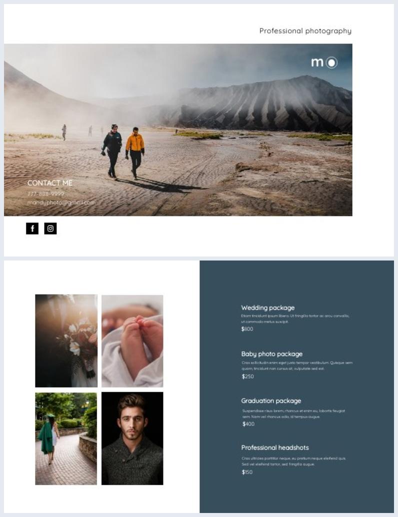 Photography Bi-Fold Brochure Template Example