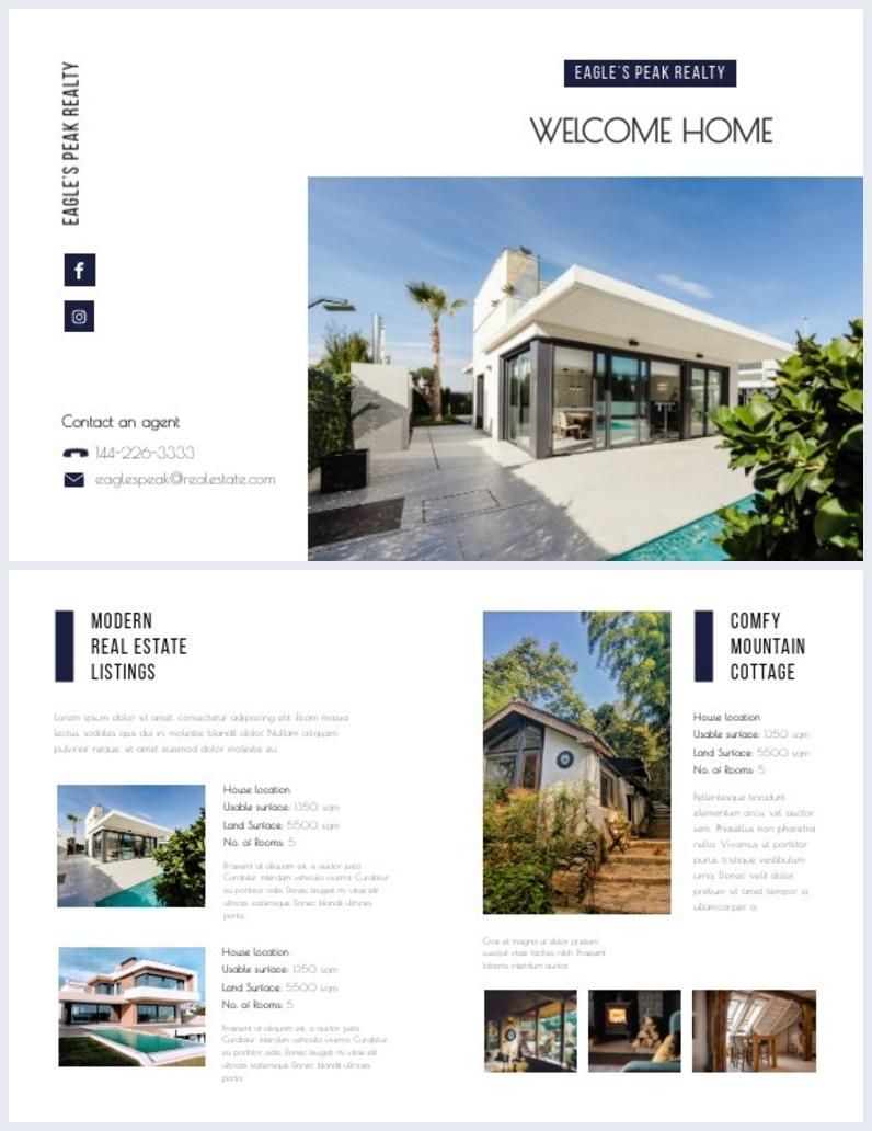 Diseño para díptico de bienes raíces