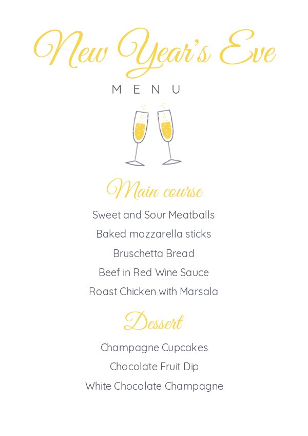 new year s eve menu template design flipsnack