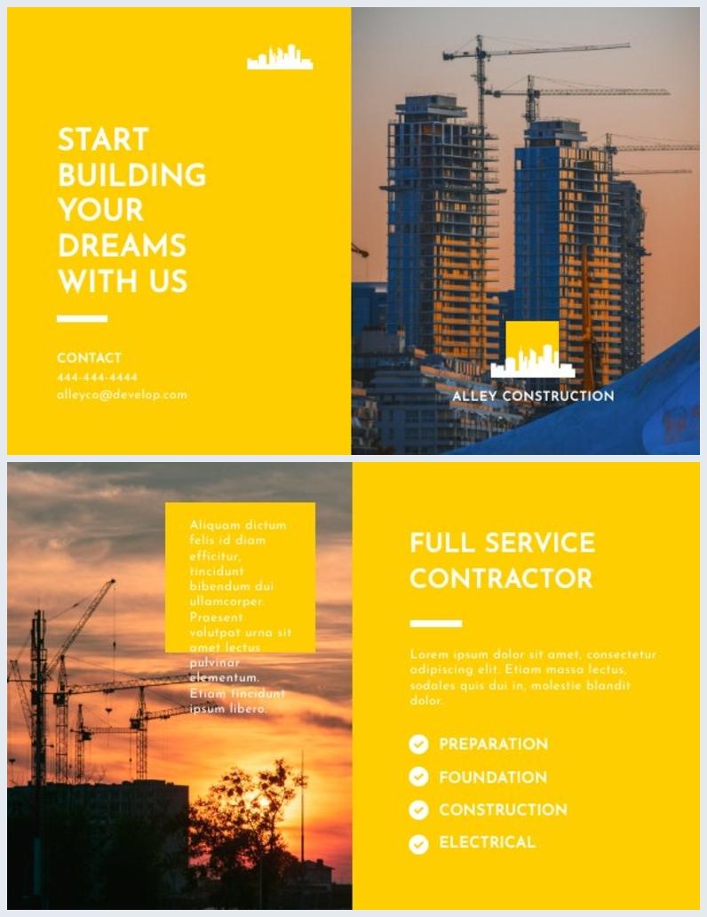 Design de Brochura de Construção com Duas Dobras