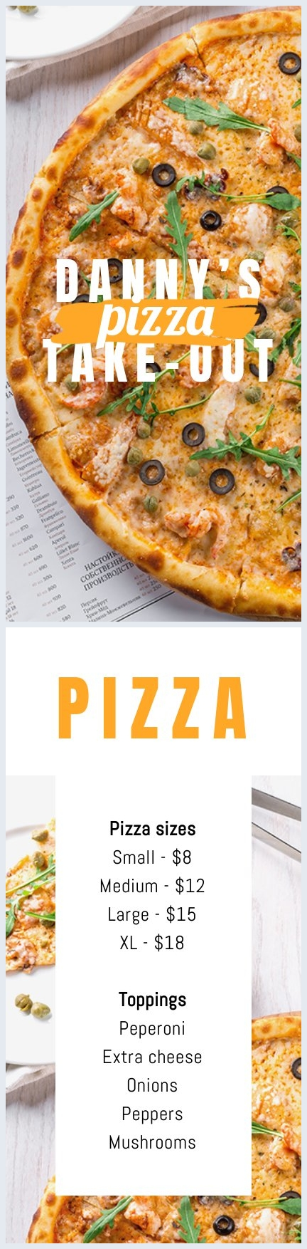 Take-Out Pizza Menu Template Design