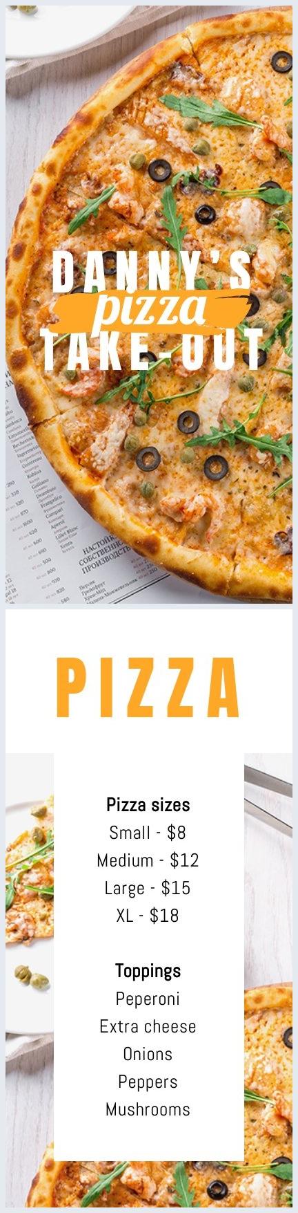 Diseño para menú de Pizza para llevar