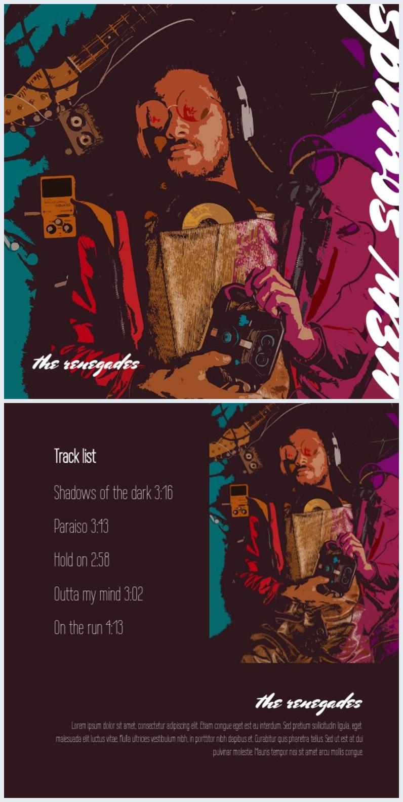 Diseño artístico para portada de álbum
