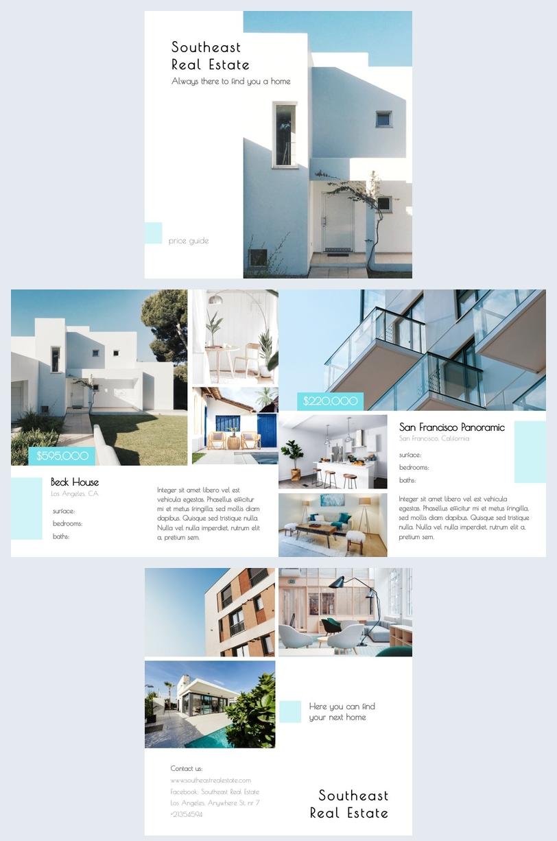 Diseño de plantilla para guía de precios de bienes raíces