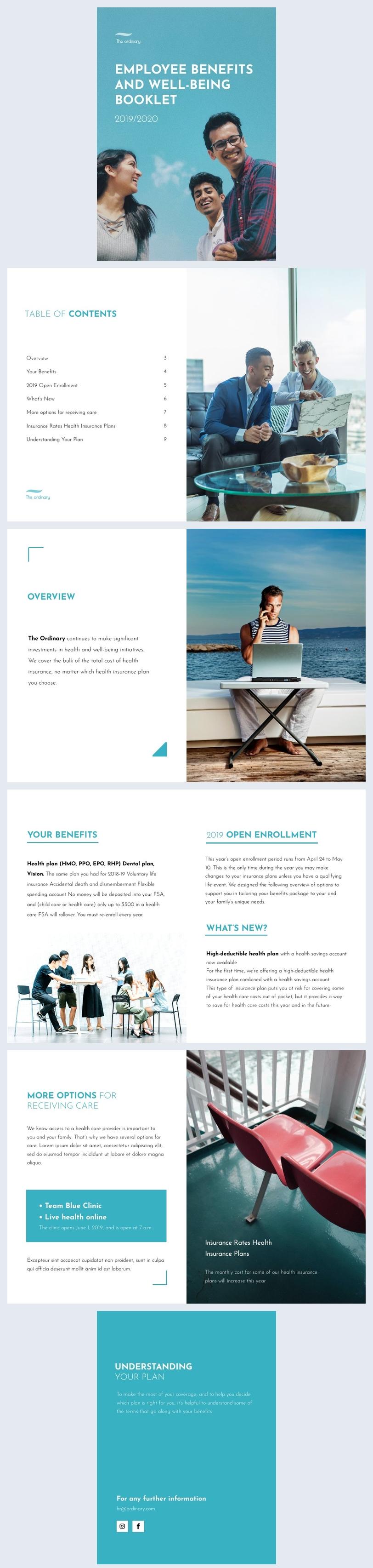 Broschürenvorlagen-Design für Sozialleistungen für Arbeitnehmer