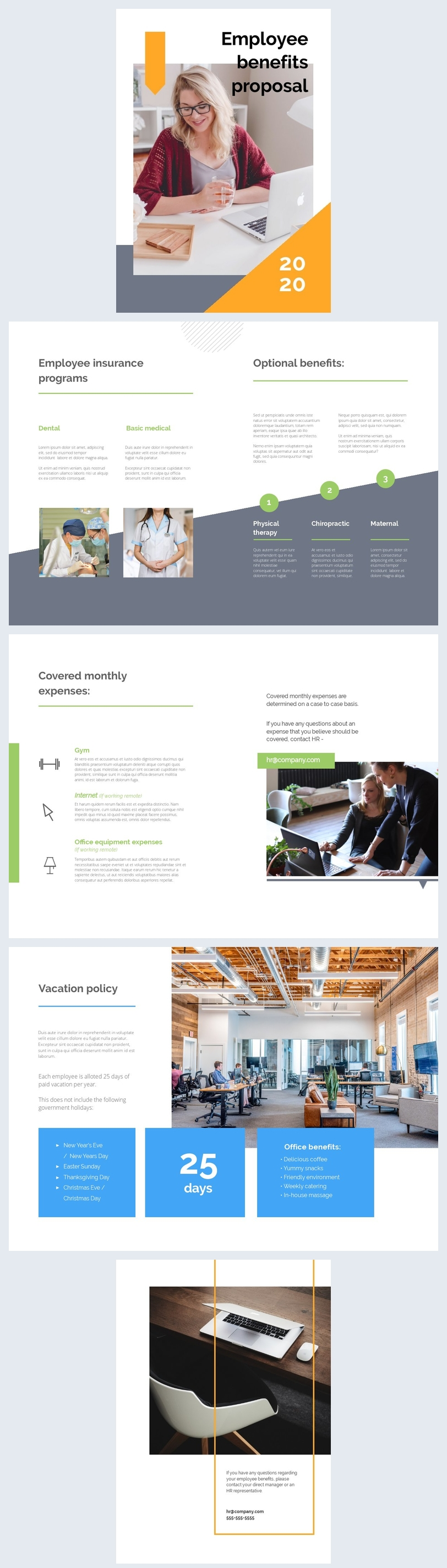 Layout de Design de Proposta de Benefícios para Empregados