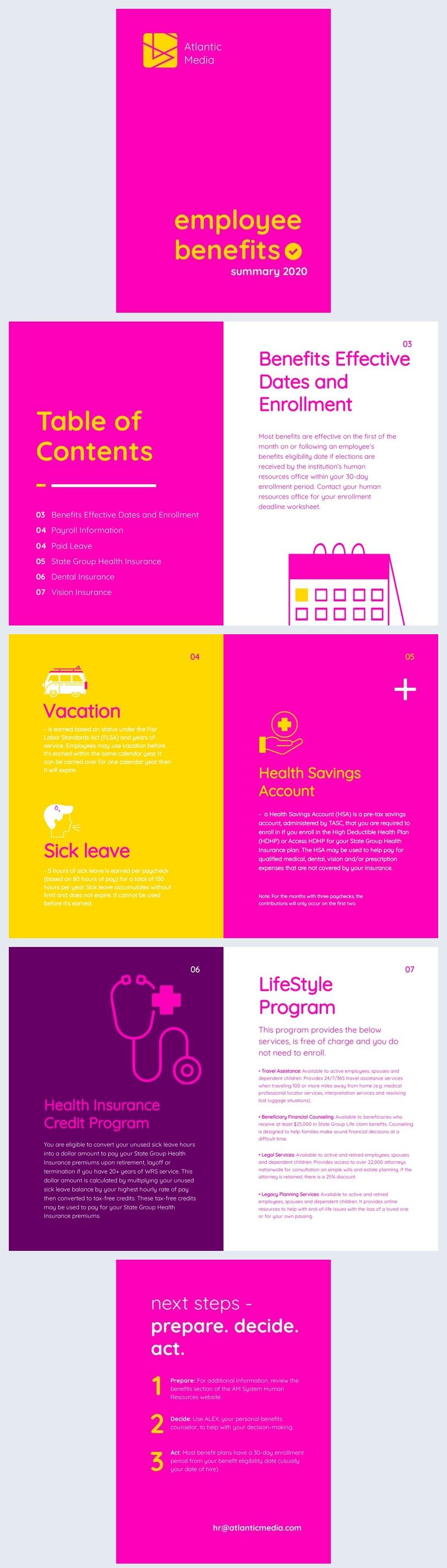 Employee Benefits Summary Template Design