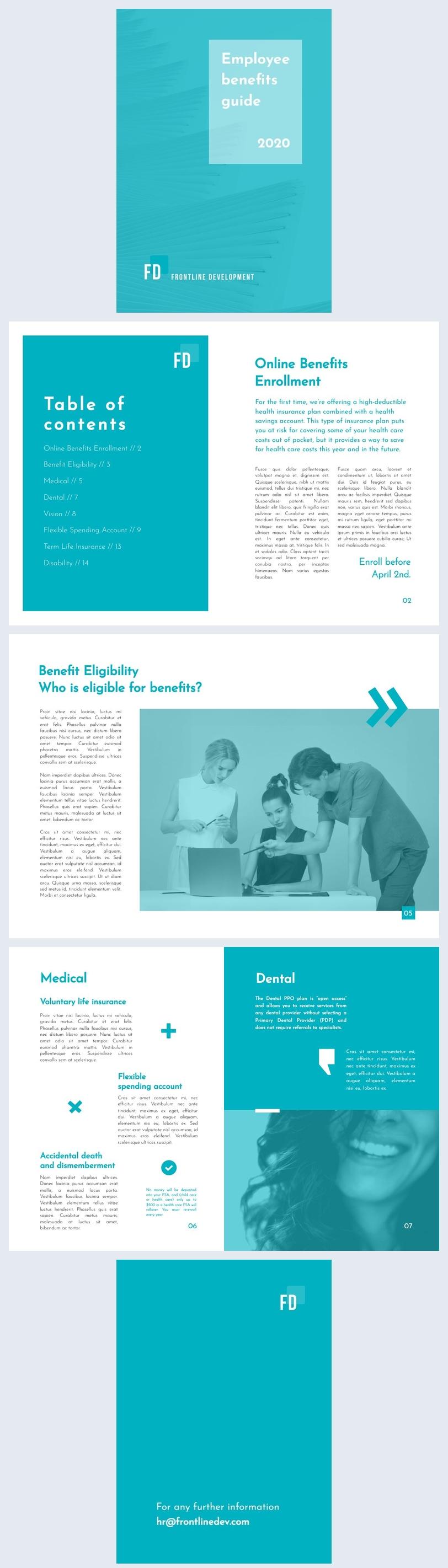 Exemple de mise en page de guide des avantages sociaux pour employés