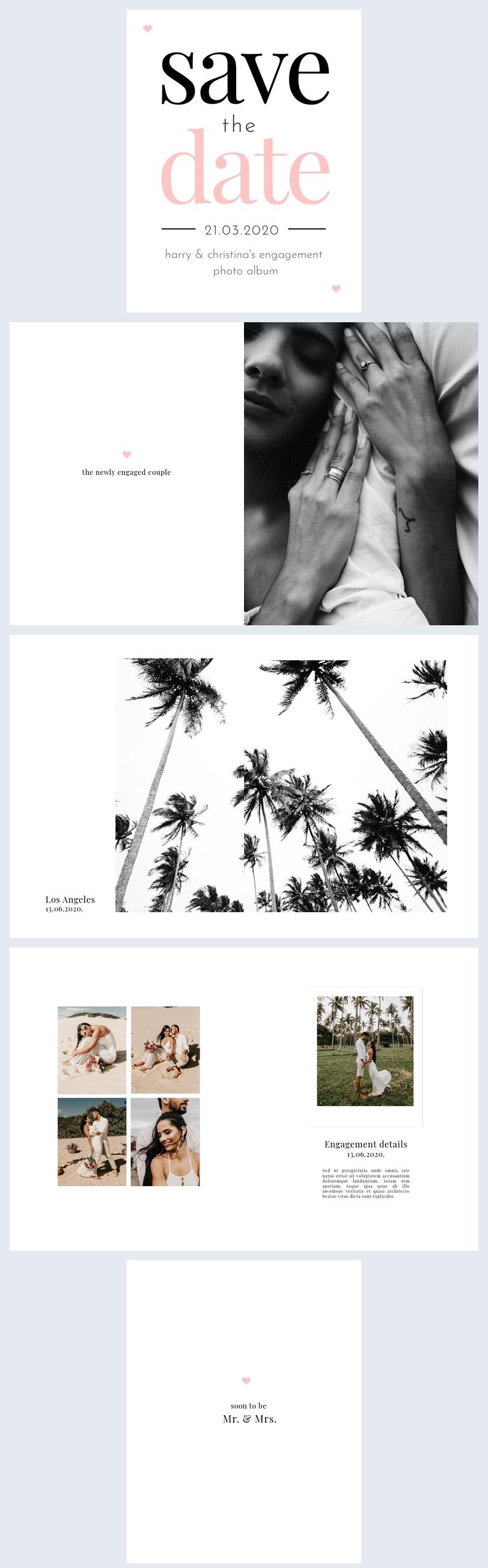 Exemple et modèle de design d'album photo de fiançailles