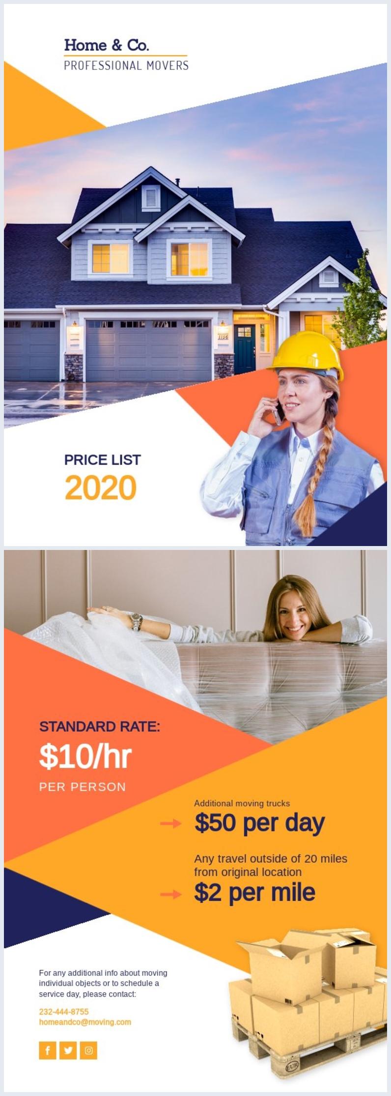 Modèle et design de liste des prix de service