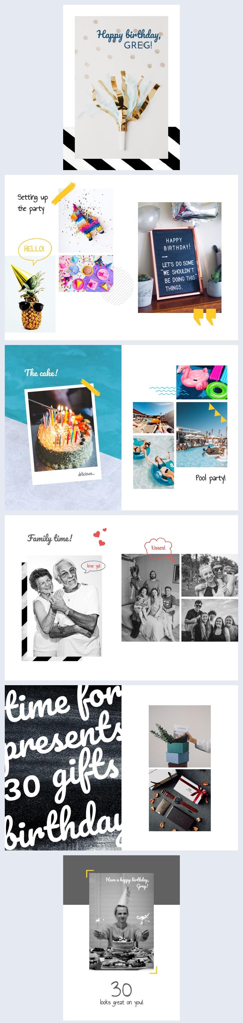 Modello di layout per album fotografico di compleanno