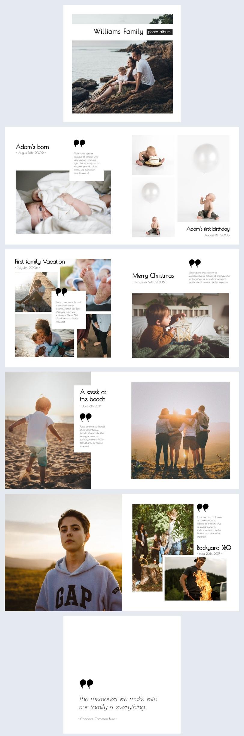 Ejemplo de plantilla para álbum fotográfico familiar en línea