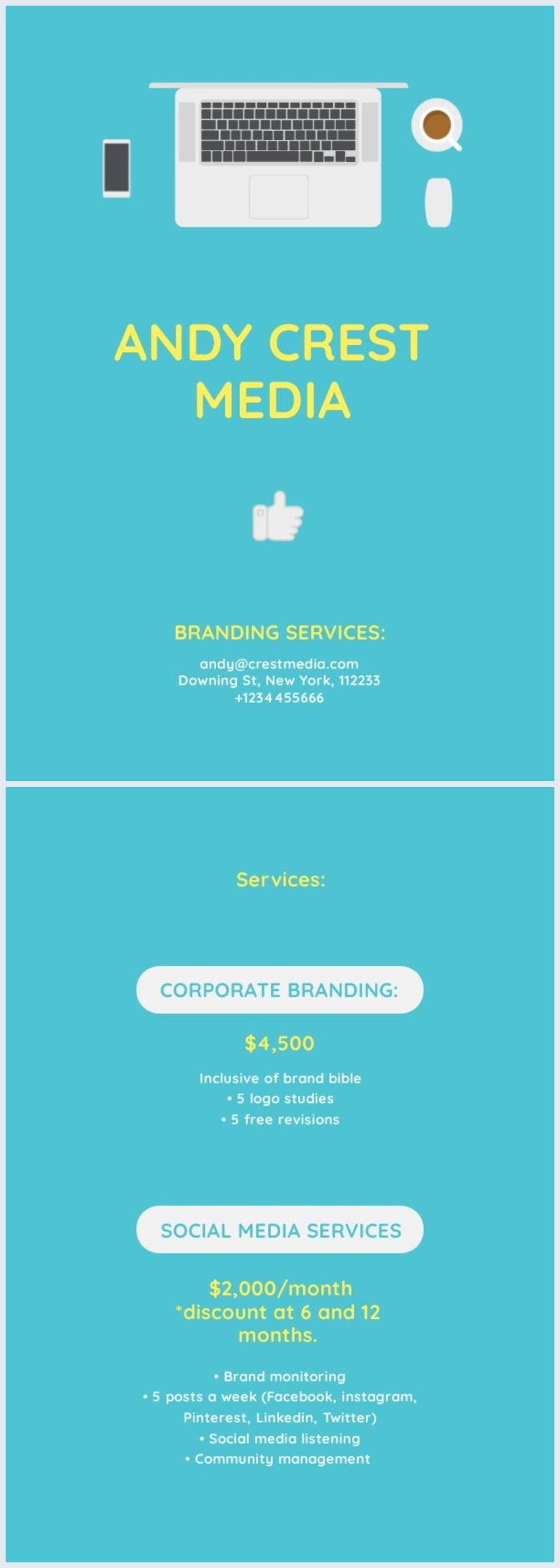 Exemple de modèle et design de liste des prix imprimable
